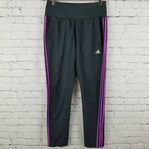 ADIDAS | pink stripe gray athletic track pants